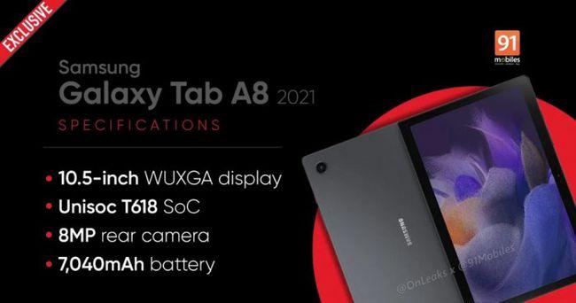 三星Galaxy Tab A8 2021规格曝光:同时支持Wi-Fi和LTE连接