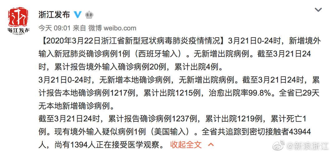 2020年3月22日浙江省新型冠状病毒肺炎疫情情况