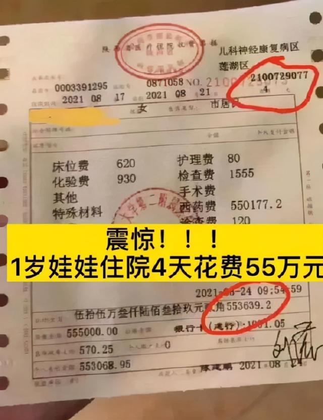 一支药55万元!女童住院4天巨额药费引争议,妈妈回应:没多收钱