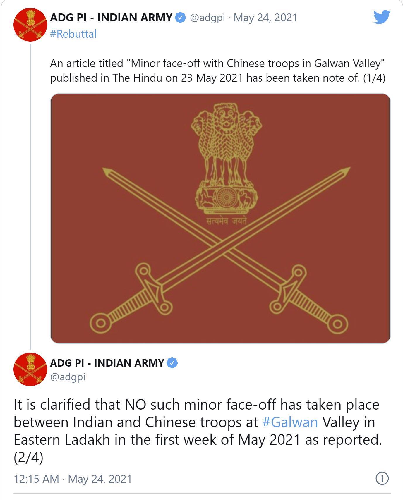 印媒炒作中印5月初加勒万河谷再次对峙 印军:假新闻,别有用心!