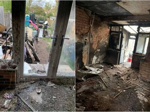 女子忘记拔掉烘干机插头,房子被烧成灰烬