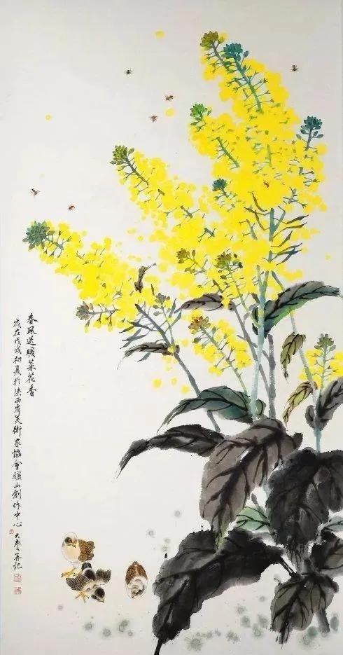 国画中的油菜花开,美极了