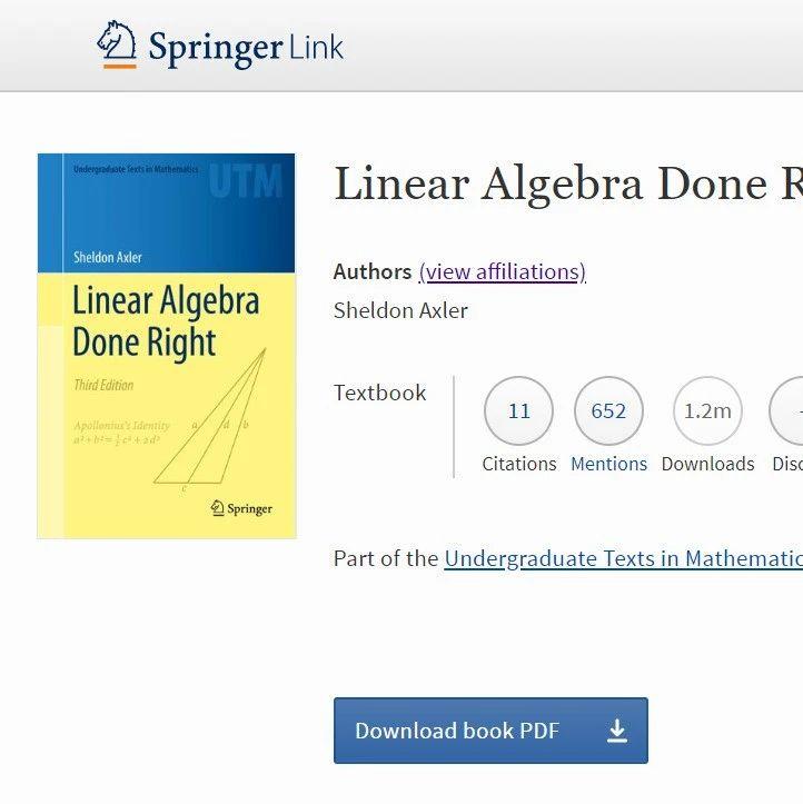 斯坦福和伯克利都在用的线性代数教材,现在可以免费下载了