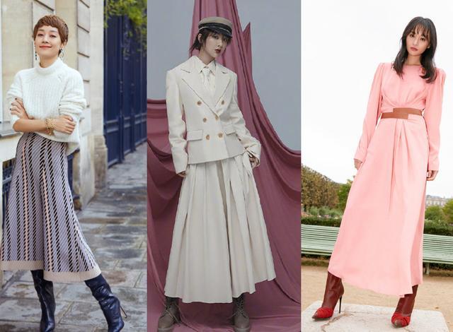 秋季新穿搭!靴子加长裙正是时髦精们最流行的穿法