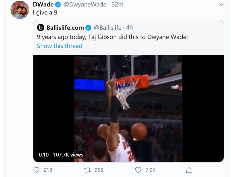 喜聞樂見!韋德轉發自己被隔扣羞辱瞬間:這個灌籃我給9分!(影)-黑特籃球-NBA新聞影音圖片分享社區
