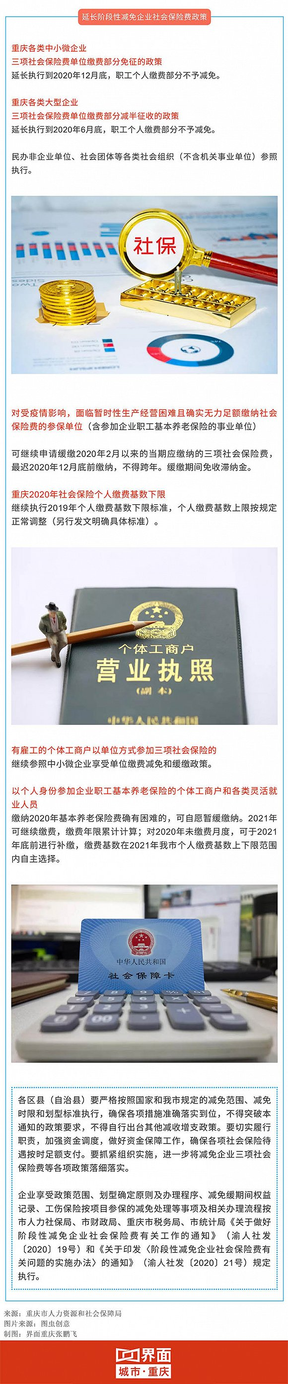 重慶中小微企業社保費:企業部分