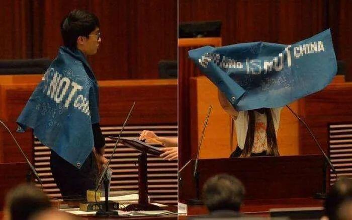 """""""香港国安法""""实走后,一旦展现相通2016年宣誓时展现""""港独""""标语等走为,将不光是作废议员资格这么浅易了。图自港媒"""