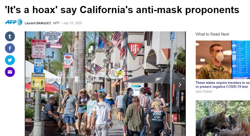 """(图为法新社前两天对美国加州""""反口罩""""群体的报道)"""
