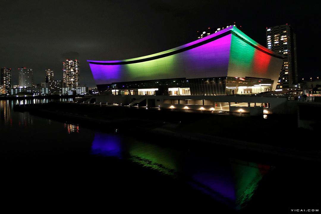 东京奥运会:倒计时一周年 有明体育馆点亮外景灯光