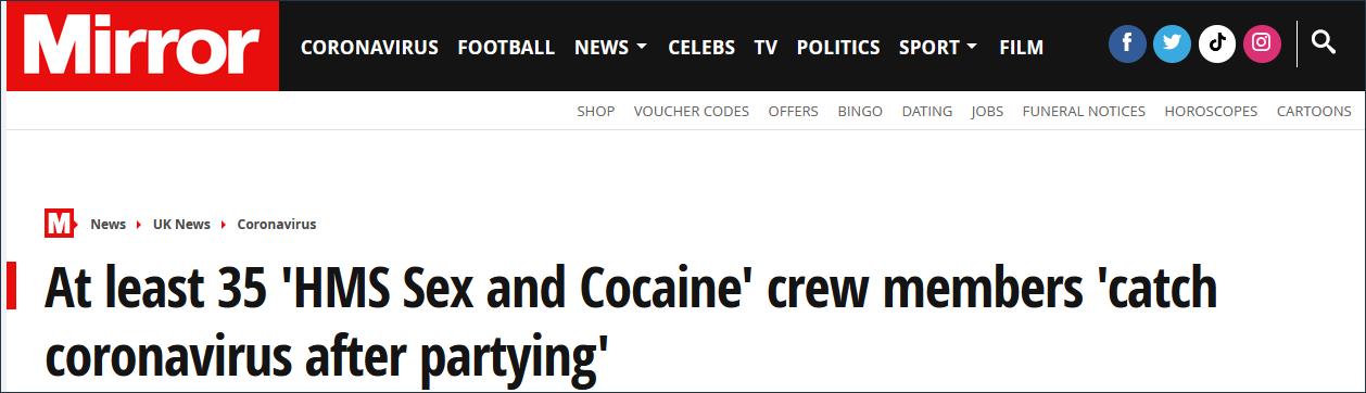 英国《镜报》14日报道截图