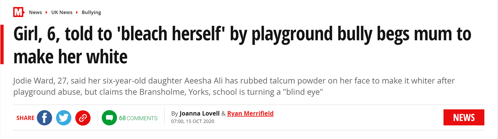 """无奈......6岁小女孩因肤色遭校园霸凌后,求妈妈把自己""""漂白"""""""