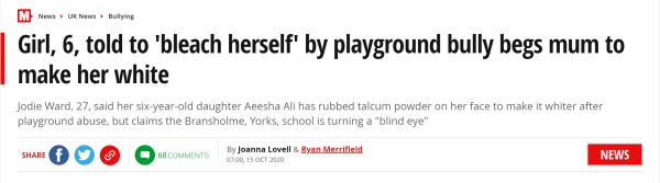 """无奈……6岁小女孩因肤色遭校园霸凌后,求妈妈把自己""""漂白"""""""