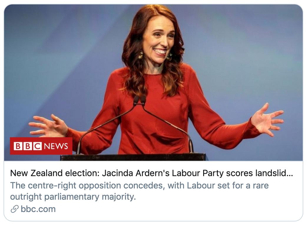 新西兰工党获得压倒性胜利。/BBC报道截图