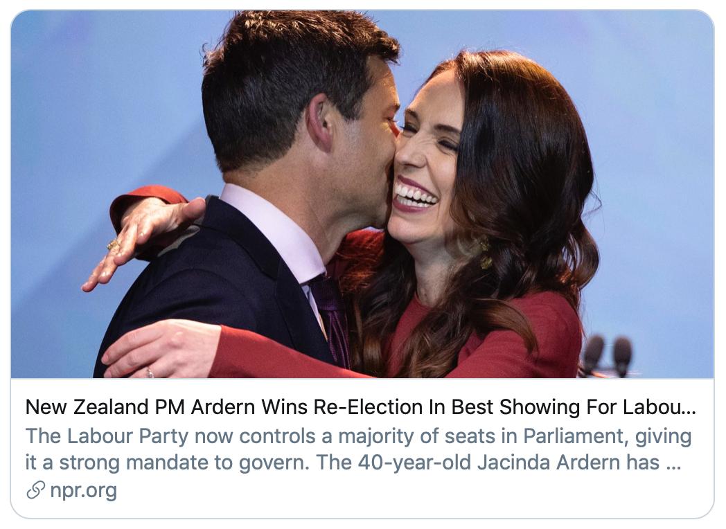 阿德恩赢得连任。/NPR报道截图