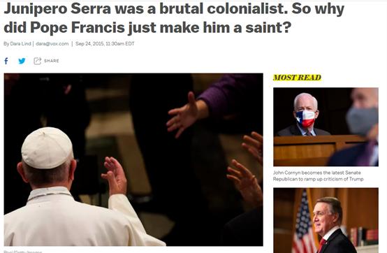 (图为2015年时美国一些媒体对塞拉争议背景的吐露,称他是个残忍的殖民者)