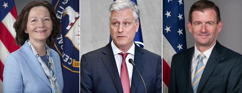 从左至右:中央情报局局长吉娜·哈斯佩尔、国家安全顾问罗伯特·奥布莱恩、副国务卿戴维·黑尔