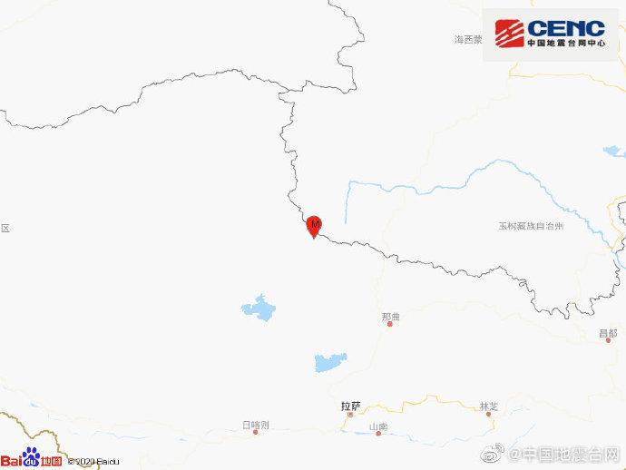西藏那曲市安多县发生4.3级地震 震源深度8千米