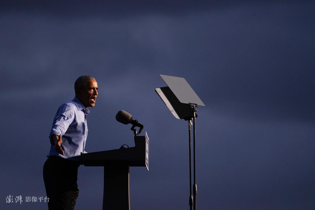 奥巴马在费城为拜登助选(图源:澎湃影像平台,下同)