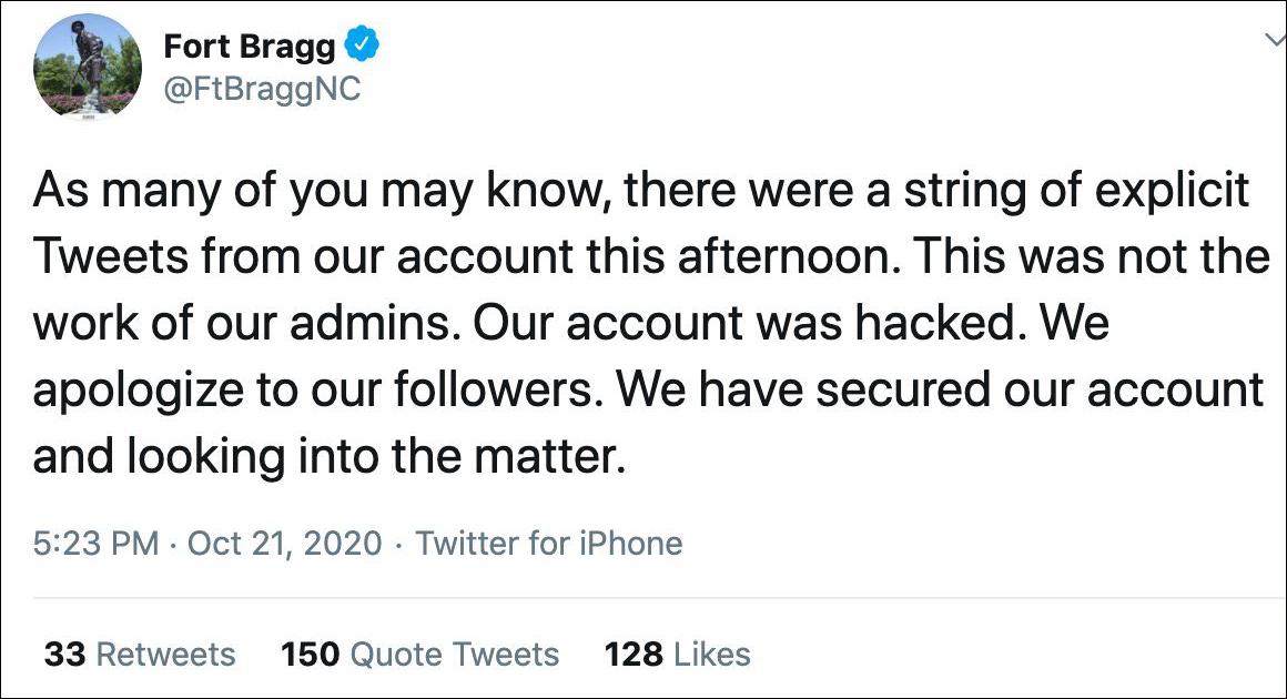该账号发布推文道歉,图自外交网站