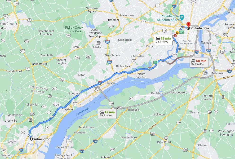 拜登的家距离奥巴马演讲地费城不到50公里,但拜登照样异国出门(截自谷歌地图)