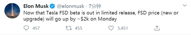 特斯拉CEO馬斯克:測試版限量發布后,FSD價格將上漲約2000美元