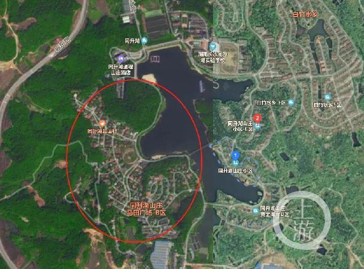 卫星地图表明,长沙同升湖山庄依湖而辟,享有大片别墅区,四周还有大片绿地。/网络地图