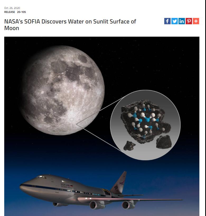 "NASA26日宣布:其""索菲亚平流层红外天文台""在有阳光照射的月球外貌发现了水"