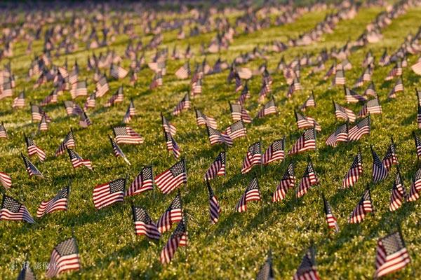 9月21日,美国华盛顿,美国新冠死亡人数达到20万,民众在国家广场放置了20000面美国国旗(IC photo)