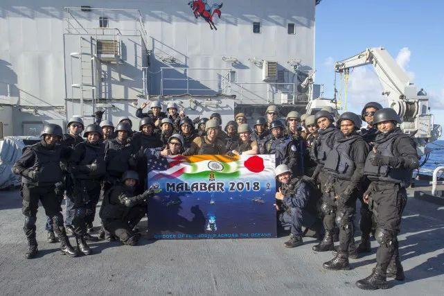 """美日印三国""""马拉巴尔""""年度结合军演已继续年,往年风传印度欲约请澳大利亚参与,但也仅此而已。"""