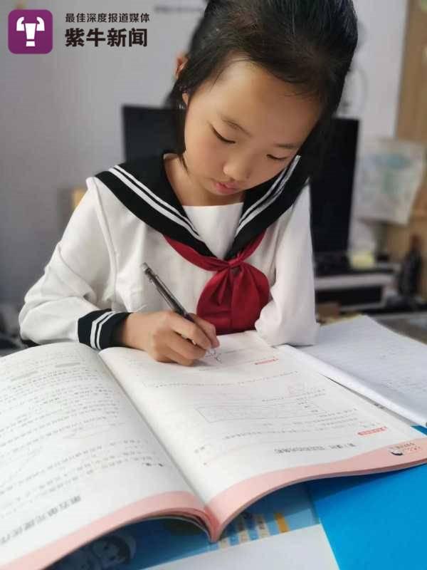 晴晴在安静地写作业