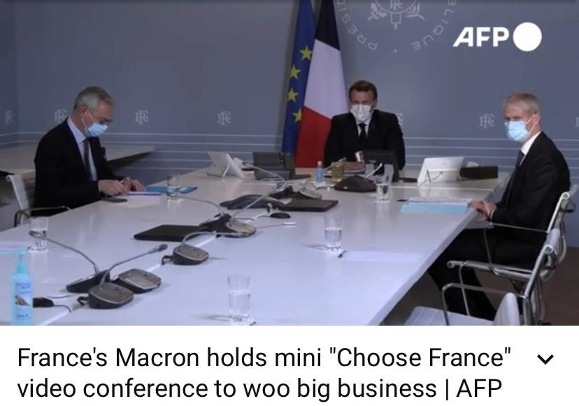 """法新社报道:马克龙和跨国企业CEO召开幼型""""选择法国计划""""会议"""