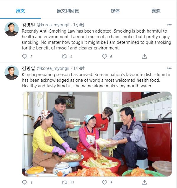 自称是朝鲜故国和平同一委员会部长金命一的推文截图