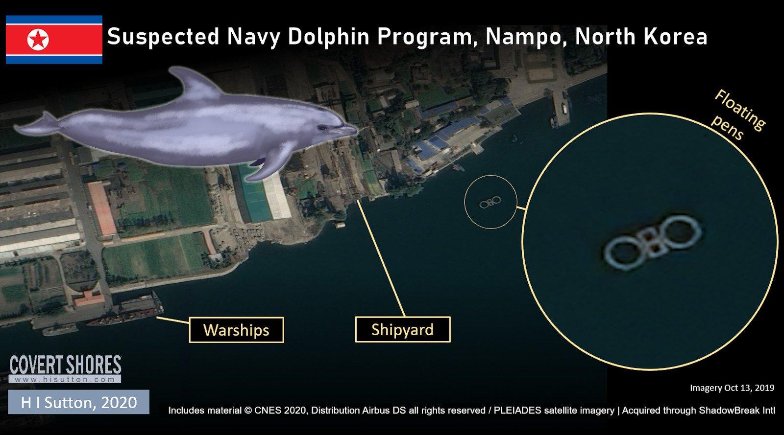 卫星照片表现朝鲜南浦附近沿海展现了一些围栏。