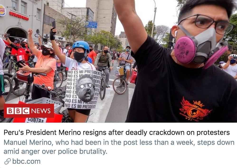 秘鲁总统梅里诺在弹压抗议者后宣布辞职。/ BBC报道截图