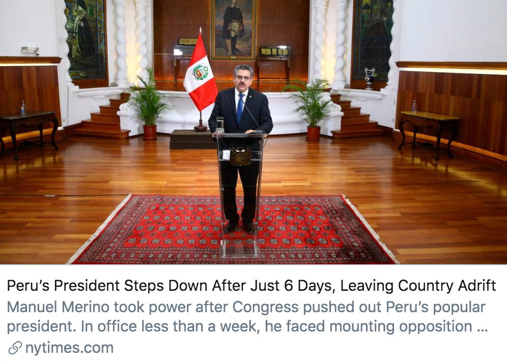 上任六天后,秘鲁总统在抗议运动中下台。/《纽约时报》报道截图
