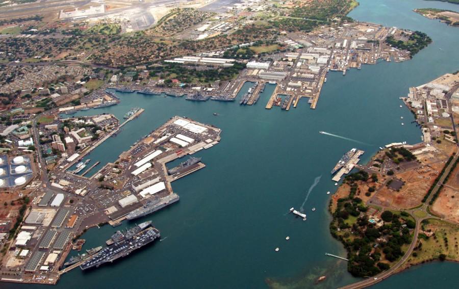 美国珍珠港海军造船厂俯拍画面