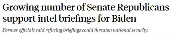 """""""更多共和党参议员赞许让拜登获取简报"""",11月13日ABC报道截图"""