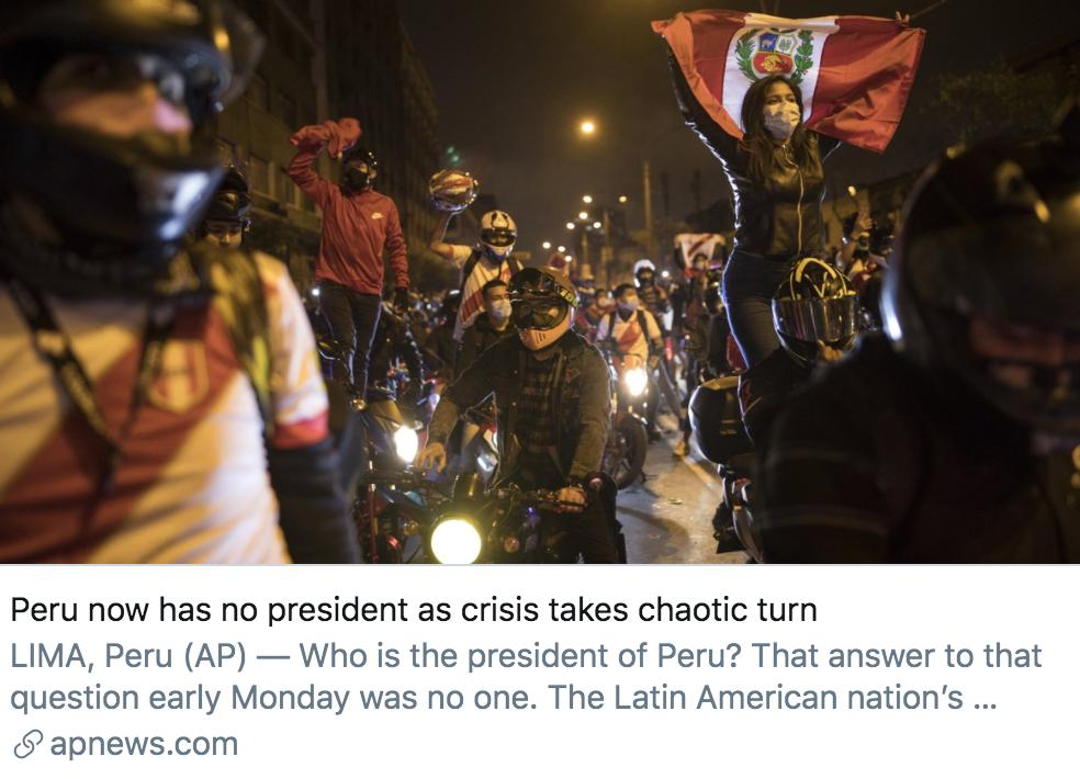 随着危险的展现,秘鲁变得紊乱不堪,现在异国总统就职。/美联社报道截图