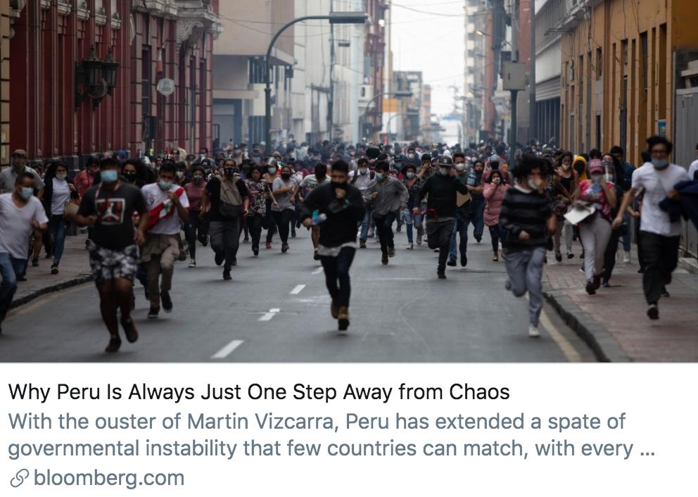 """为什么秘鲁总是离紊乱只有""""一步之遥""""?/彭博社报道截图"""
