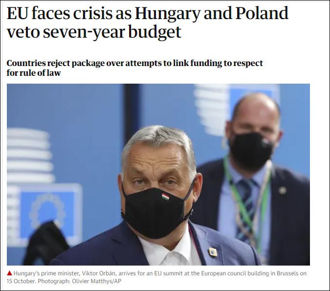 """匈牙利、波兰否决1.8万亿欧元预算,""""欧盟又陷入了危机"""""""