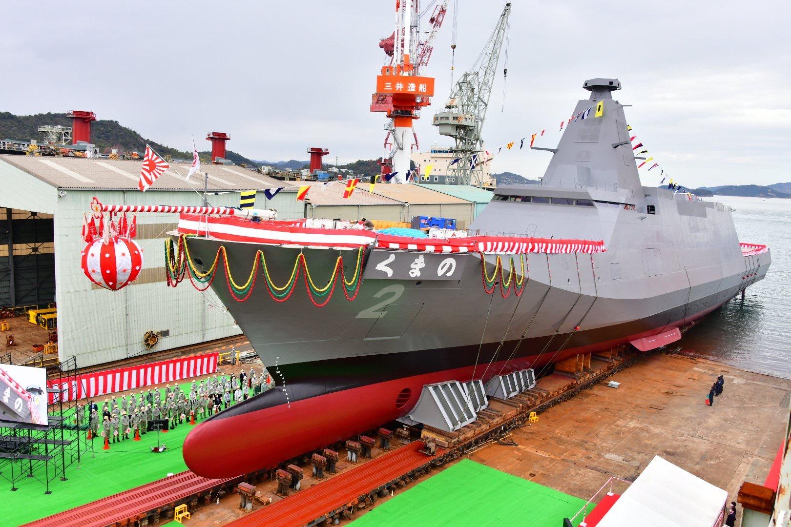 """日本新一代隐身护卫舰二号舰被命名为""""熊野""""(くまの) 图源:日本海事信休写真部"""