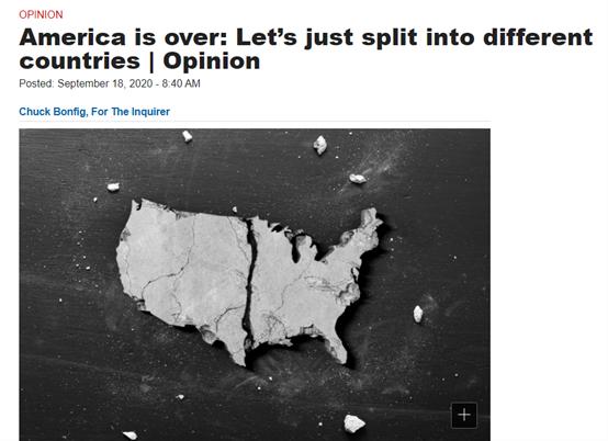 """(图为美国一家媒体9月时曾经刊登过的一篇评论文章,认为美国若再这么扯破下往不如""""分家"""")"""
