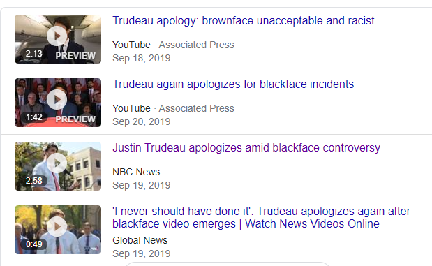 图为去年加拿大总理特鲁多在被发现曾在中学时代扮演黑人后,数次公开道歉的场景