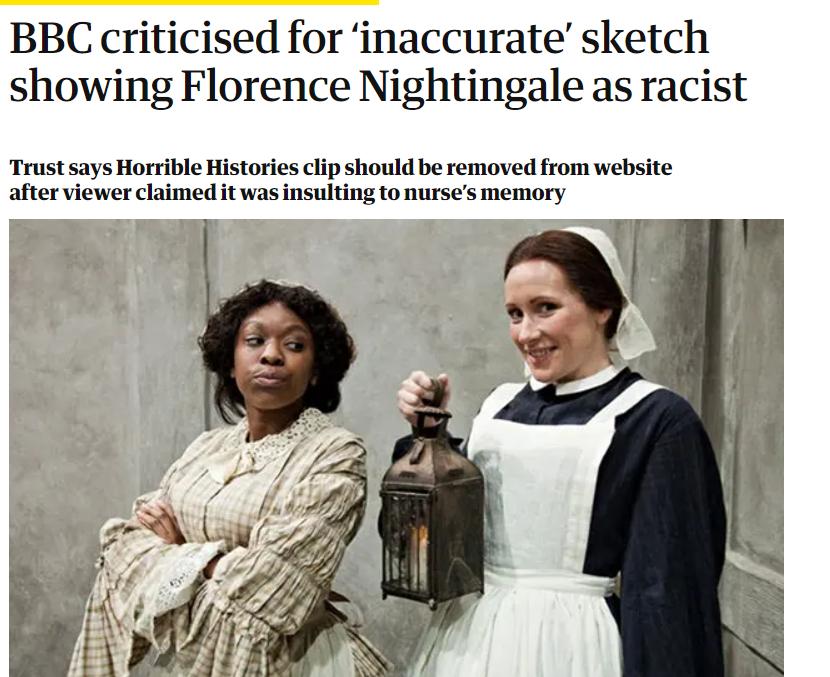 图为英国《卫报》对于BBC撤下《糟糕历史》中涉及南丁格尔片段并道歉的报道