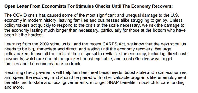 125名经济学家联名督促美国政府提供进一步刺激援助
