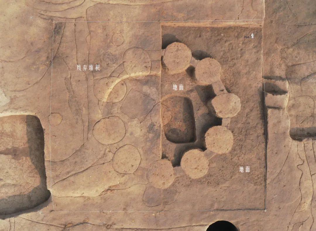 """""""土墩""""型仓储建筑俯拍图(上为北,东半部解剖发掘至活动面)"""