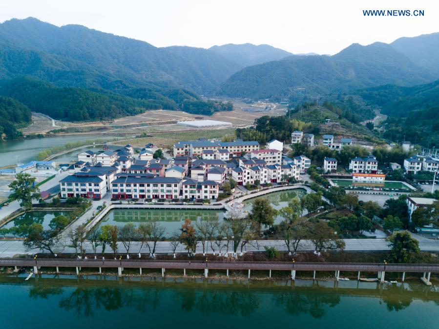 Aerial photo taken on Nov. 20, 2020 shows a view of Changkou Village in Sanming, southeast China's Fujian Province. For more than 20 years, Changkou Village has insisted on green development based on the resource advantages of local mountains, water and farmland. In 2019, the collective economic income of the village was 1.22 million yuan (about 185,550 U.S. dollars) and farmer's per capita disposable income reached 23,600 yuan. (Xinhua/Song Weiwei)
