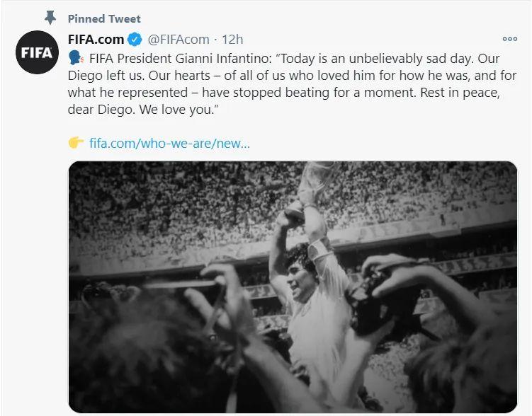 国际足协发文悼念马拉多纳。/ 推特截图