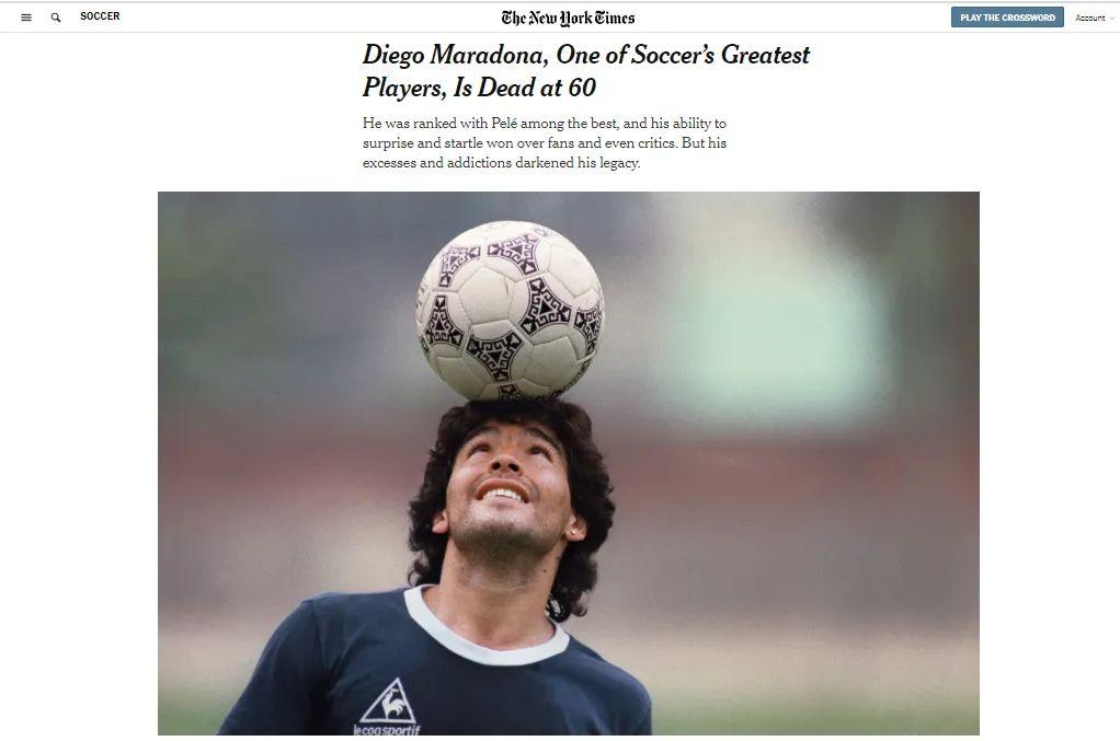 1986年,迭戈·马拉多纳率领阿根廷队夺得世界足球锦标赛冠军。/ 《纽约时报》网站截图