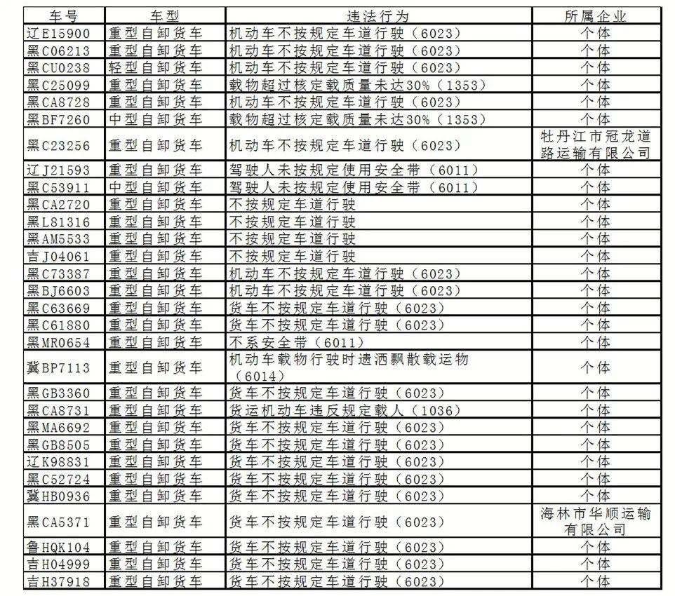 市交警支队曝光30辆违法工程运输车